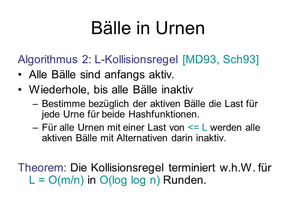 Bälle in Urnen Algorithmus 2: L-Kollisionsregel [MD93, Sch93]